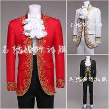 (Jakcet + брюки) костюм набор пром над национальной мужской сценический костюм блейзер свадебное платье брюки партии формальный наряд певица звезда