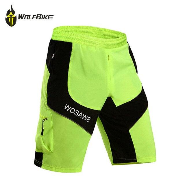 96a8c98a5 WOSAWE Ciclismo Cycling Shorts Fluorescent Green MTB Motocross Men s Sports  Bike Riding Short Bicycle Shorts no pad