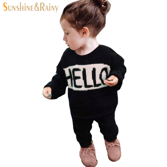 Spring Girls Boys Sweater Age 12M-5Y Baby Infant Winter Autumn Cotton O-Neck Printed Hello Bye Kids Knitted Sweater Pullover