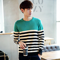 Autumn dress fashion color blocked and striped pullover men knitted basic sweater pull homme men's clothing size m-5xl TTS15-1