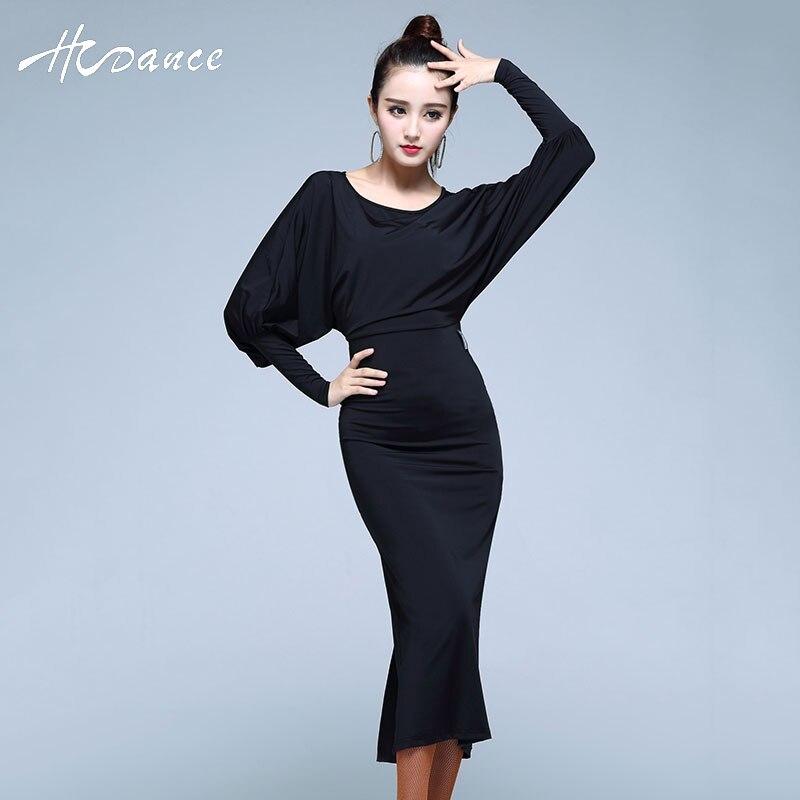 New Sexy Latin Dance Costumes Women Silk Black Red Vestidos Latinos Tango Dress Faldas Salsa Mujer Competition A349 HCDANCE