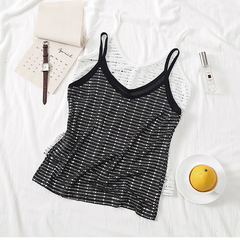 AOSSVIAO Sequined Cami Tank Top 2019 Summer Casual Cool Vest Women Sexy Fashion knitting Black White Streetwear