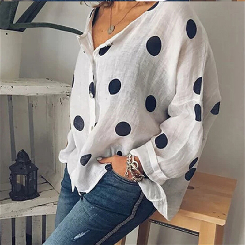Women Baggy Blouses New Summer Polka Dot Printed Button Blouse Sexy V neck Loose Tops Tunic Shirts Plus Size Shirt Female Blusas|Blouses & Shirts| - AliExpress