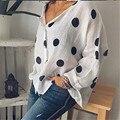 Frauen Baggy Blusen Neue Sommer Polka Dot Gedruckt Taste Bluse Sexy V-ausschnitt Lose Tops Tunika Shirts Plus Größe Shirt Weibliche blusas