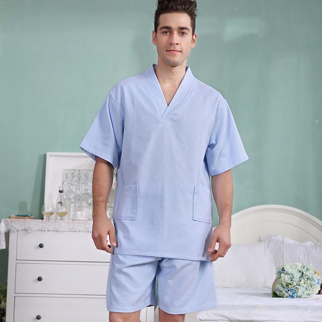 Conjuntos de homens de Pijama roupão de banho Waffle algodão