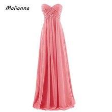 2018 Women Bridesmaid Sleeveless Chiffon Long Wedding Party Dress Sexy Strapless Bride Wedding Toast Dress Long Wholesale Custom