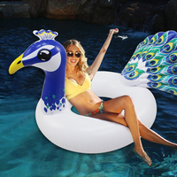115CM Peacock Unicorn Inflatable Swimming Ring Inflated Pool Toy Swimming Tube Raft Summer Beach Party Adult Kid Floating Island