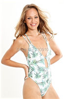 2017 Hot Design Retro Style Simple Model Brazilian Sexy Printing One Piece Bandage High Cut Swimsuit