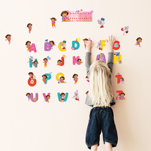 Dora Cute Cartoon Alphabet Wall Stickers A To Z 26 English Letters Decor For Kid Rooms Classroom Decorations Pvc Diy Decals
