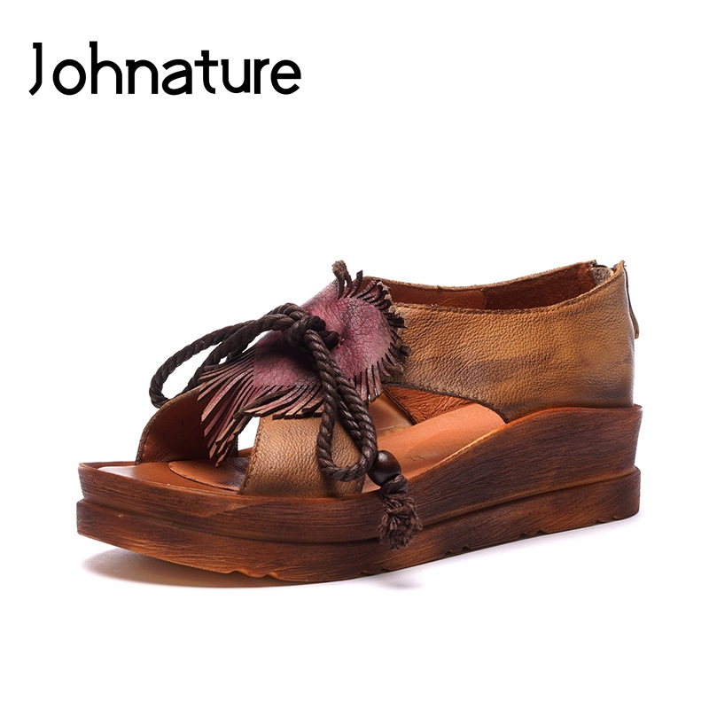 Johnature Genuine Leather Zipper Basic Casual 2019 New Platform Sandals Retro Hand-painted Wedges Summer Women Shoes
