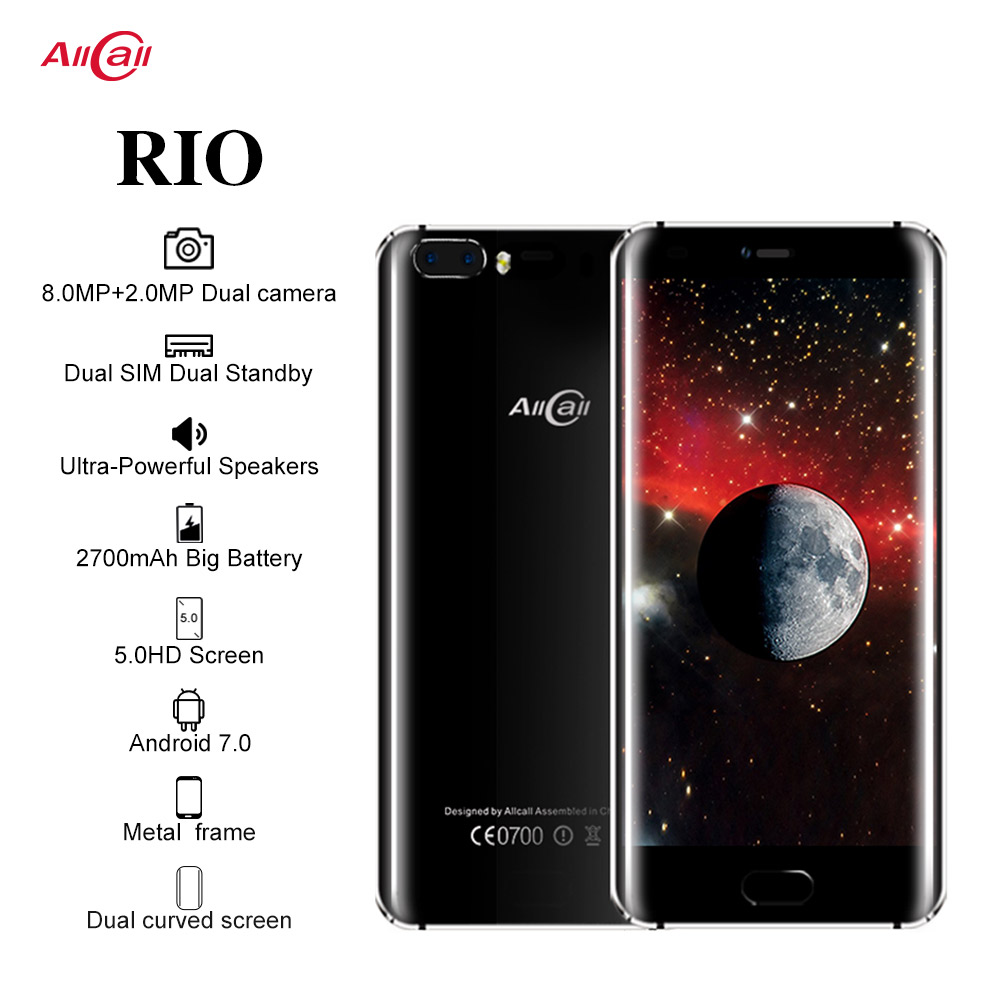 Original Allcall Rio 5,0 Zoll IPS Hinten Cams Android 7.0 Smartphone MTK6580A Quad Core 1GB RAM 16GB ROM 8.0MP OTG 3G Handy