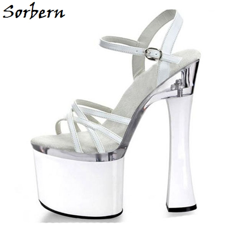 Sorbern White Sweet Party Sandals Summer Designer Custom Color Ladies Sandals Platform High Heels Open Toe Women Shoes Size 8