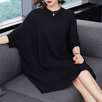 Women Knitted Dress Bat Wing Sleeve Sweater Dresses Loose Casual Spring Autumn Round Neck Knee Length Lady Elegant Dress
