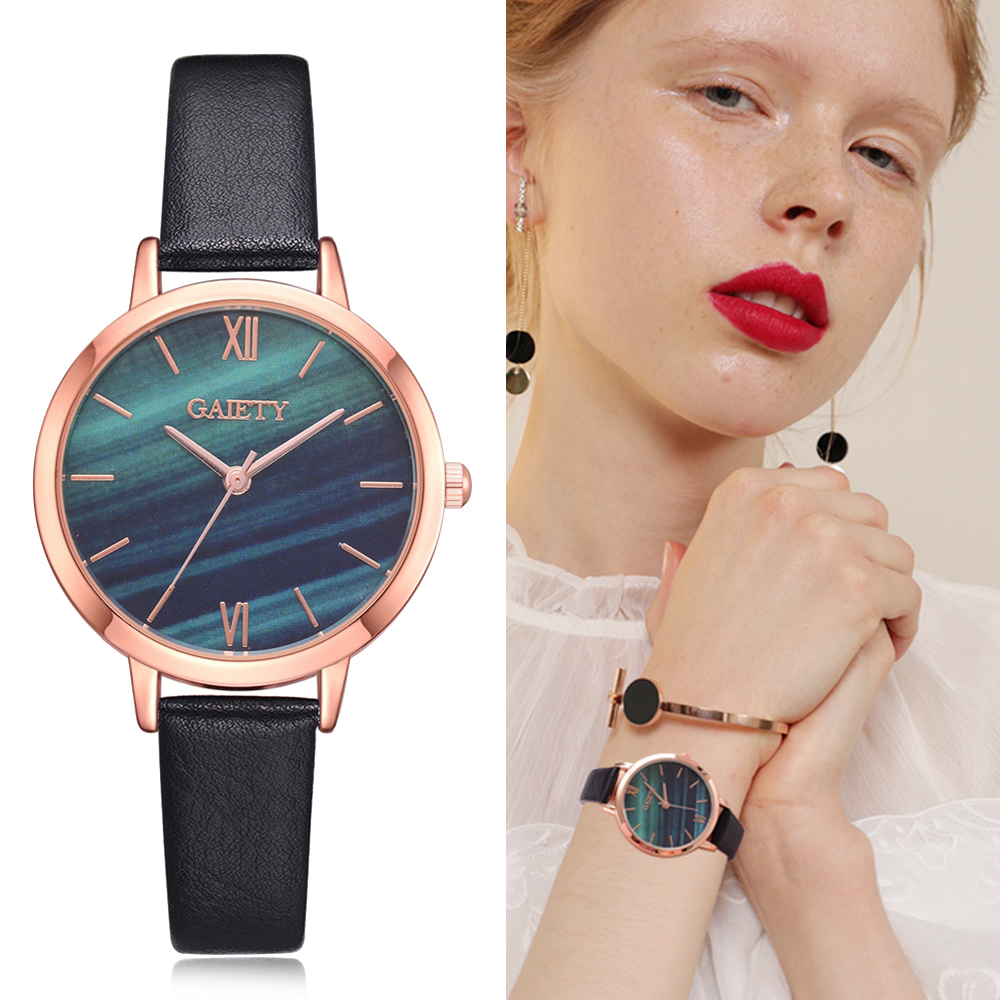 Women's Clock Ladies Fashion Simple Stylish Marble Mirror Dial Watches Women Simple Leather Casual Wrist Watch stylish pu leather wristband metal dial wrist watch black silver 1 377