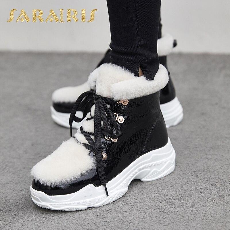Verni Chaud Hiver rouge Femmes Plate Sneakers Cuir Peluche Russie Neige Sarairis Bottes En Noir Nouveautés Chaussures forme Femme O8mn0vNw
