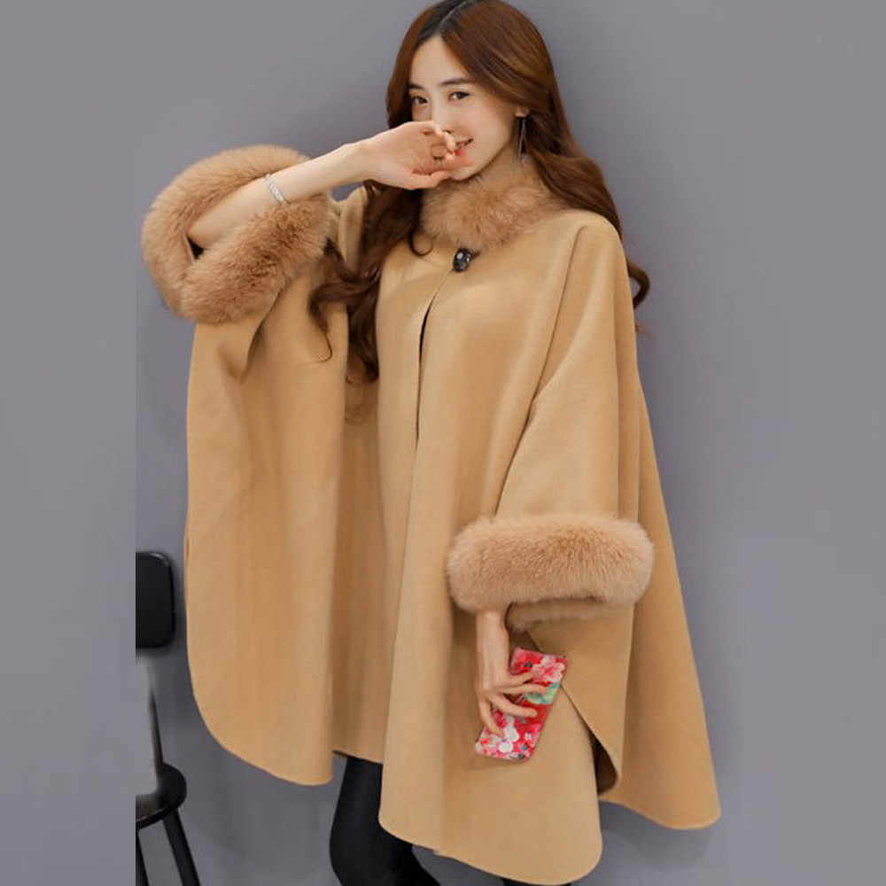 Poncho Winter Jacke Mantel Frauen Pullover Casual Mantel Winter Lange Strickjacke Lose Langarm Strickjacken Weibliche пальто женское