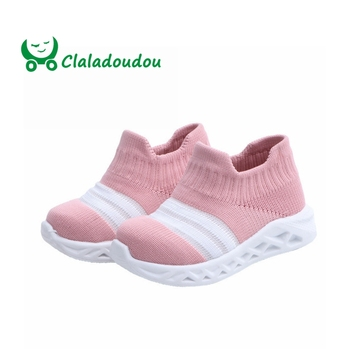 Claladoudou 12-14CM 2019 Spring Fashion Knitting Infant Shoes Breathable Girls Boys Toddler Sneakers  Slip-On Little Girl Shoes