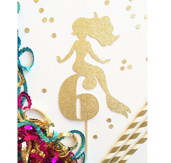 glitter custom Mermaid Age number or intial cupcake toppers Food
