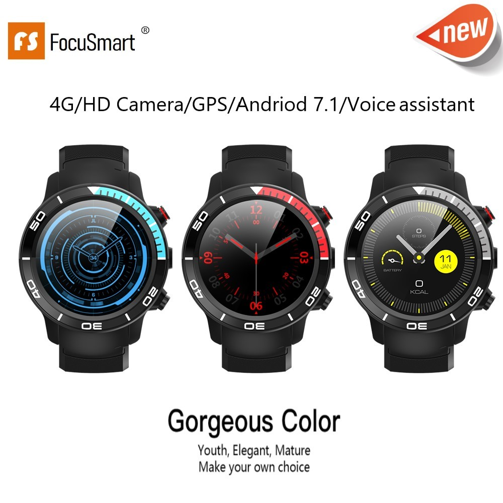 FocuSmart New 4G Smart Watch Android 7.1 Support GPS WIFI 5MP Camera Video Call Air Pressure IP68 waterproof Smartwatch For Men
