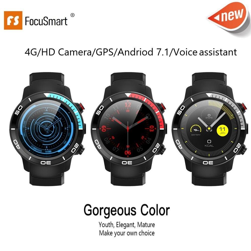 FocuSmart Novo 4G Relógio Inteligente Android 7.1 Suporte GPS WIFI Câmera de Vídeo Chamada 5MP IP68 Smartwatch à prova d' água de Pressão de Ar para Os Homens