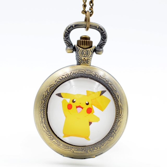 Pikachu Genius Pokemon Go Bronze/Black/Silver Quartz Pocket Watch Pendant Neckla