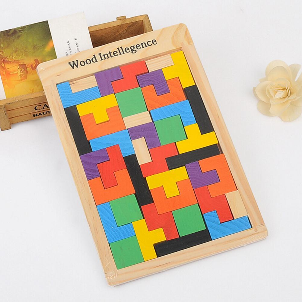 Colorful Wooden Intelligence Tangram Brain Teaser Puzzle Toys Tetris Game Preschool Magination Intellectual Educational Toy Gift