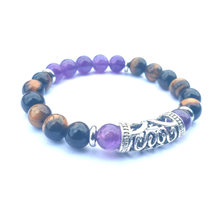 2019 NEW 8MM Amethyst Tiger Eyestone with Long Silver Circle Bracelet(China)