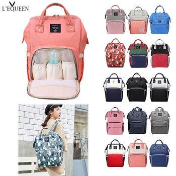 LEQUEEN bolsa para pañales multifuncional gran capacidad momia bolsa de cuidado de bebé maternidad viaje compras mochila organizador de pañales
