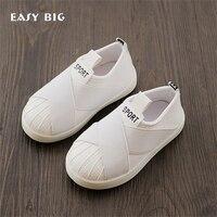 KOLAY BÜYÜK Bahar Sonbahar kaymaz Elastikiyet Çocuklar Rahat Ayakkabılar Erkek Kurulu Ayakkabı Çocuk Sneakers Kız beyaz Ayakkabı CS0009