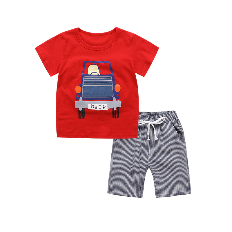 2PCS Suit Baby Boy Clothes Children Summer Toddler Boys Clothing set Cartoon 2018 New Kids Fashion Cotton Cute Animal Sets summer baby boys clothing set cotton animal print t shirt striped shorts sports suit children girls cartoon clothes kids outfit