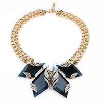 Fashion Luxury Brand Hyperbole Geometric Blue Crystal Gem Statement Choker Necklace For Women New Design Jewelry