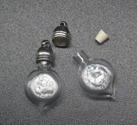 100pcs 25x12mm small heart glass Vial Pendant 5mm metal cap rubber plug charm glass bottle mini vials perfume oil diy necklace