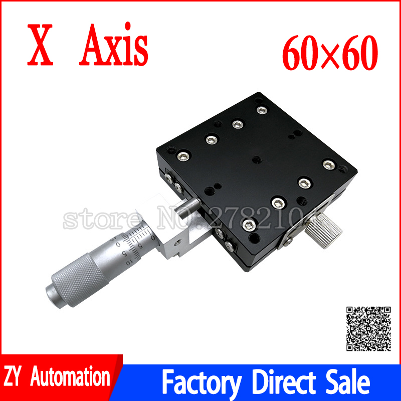 X Axis 60x60mm Trimming Platform Manual Linear Stages Bearing Tuning Sliding Table X60-L X60-C X60-R Cross Rail