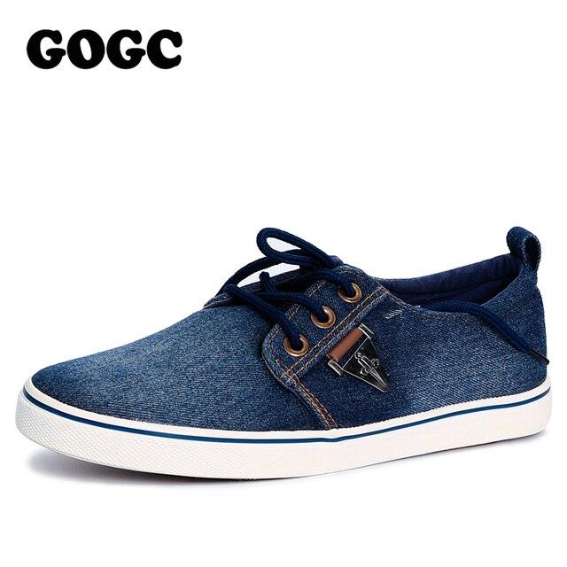 GOGC 2017 Мужские джинсовые кеды стильные кеды мужские обувь мужская шнурки дышащие кроссовки мужские повседневная обувь с украшенем слипоны