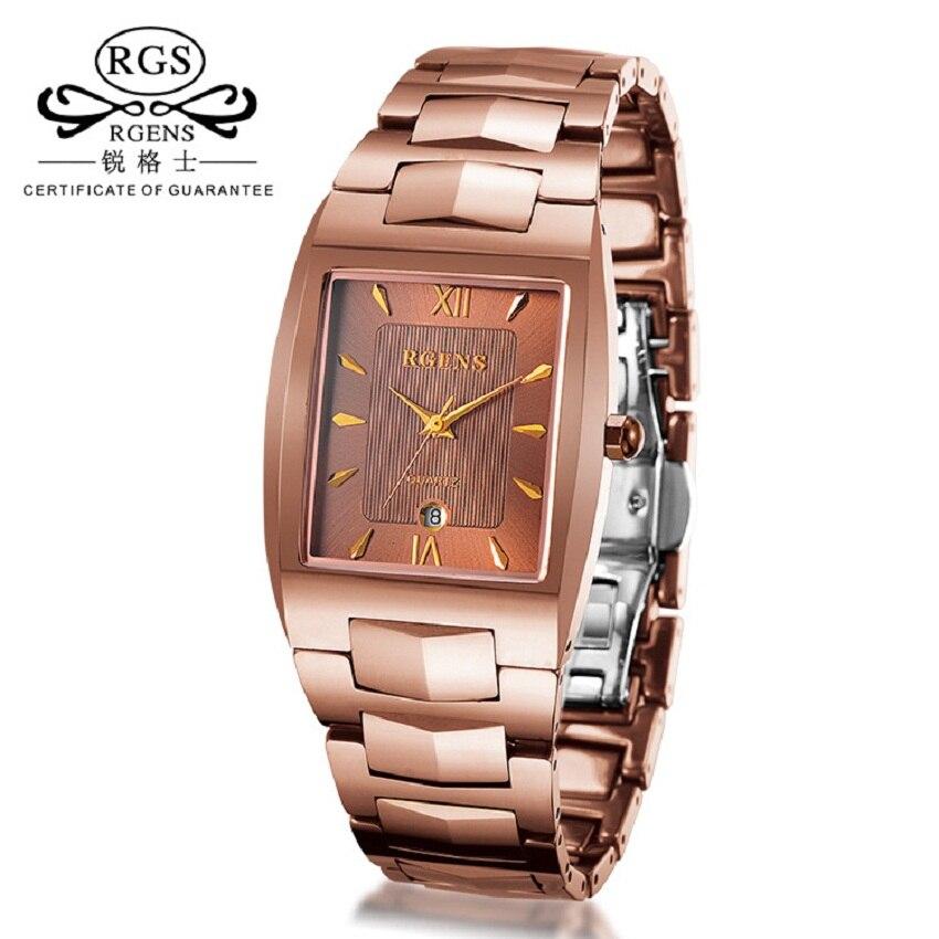 Des hommes d'affaires de montres réel acier De Tungstène or Rose quartz mâle montre carré casual étanche montres RGENS marque
