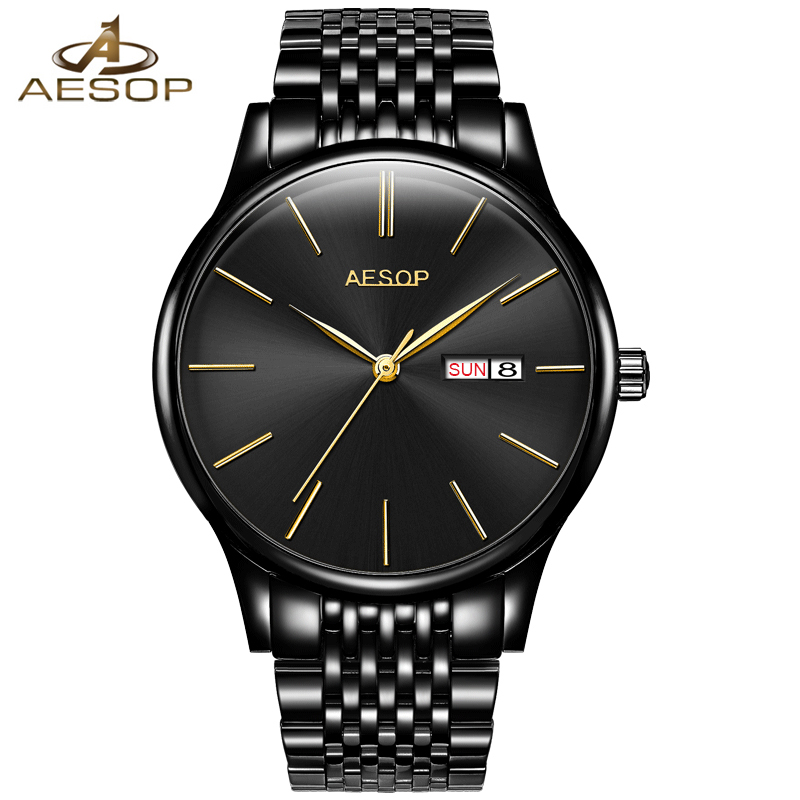 AESOP Brand Self-Wind Mechanical Watch Men Stainless Steel Business Automatic Mens Watches Calendar Fashion Relogio Masculino relogio masculino guanqin mens watches top brand luxury automatic self wind date watch men business steel mechanical wristwatch