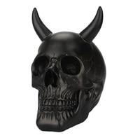 Horn Skull Head Decor Horror Creative Oil Drop Effect Resin Skull Dispaly Head Sculpture Skeleton Decor for Halloween Film Prop