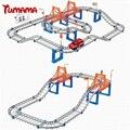 Tumama grandes niños toys multicapa niños tren de vagones de ferrocarril eléctrico modelo pista slot racing juguete coche órbita doble del coche de cumpleaños regalo
