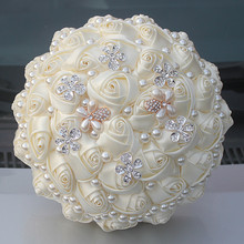 Wedding Artificial Flowers Bouquet Bride Rhinestones Brooch Fashion DIY Fake Beaded Bridal Rose Bouquets