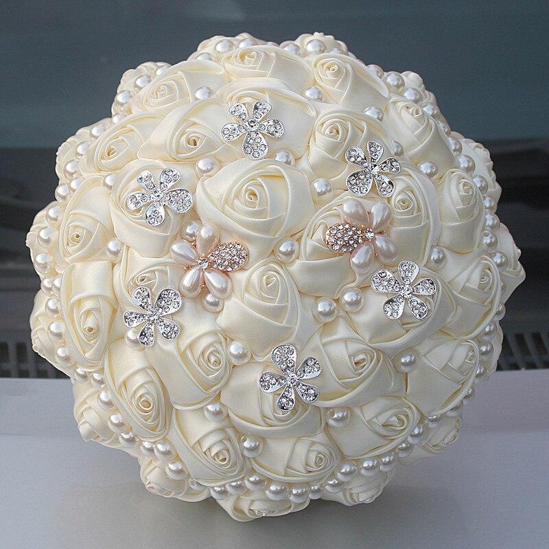 Wedding Artificial Flowers Bouquet Bride Rhinestones Brooch Bouquet Fashion DIY Fake Flowers Beaded Bridal Rose Bouquets