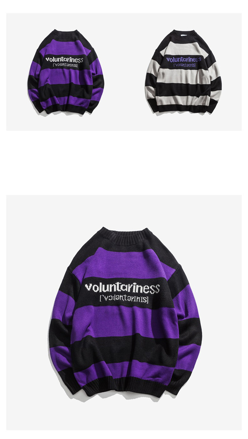Knitted Japanese Harajuku Hip Hope Letter Pattern Sweater for Men Urban Boys Knit Streetwear Striped Pullover Jumper Plus Size 7