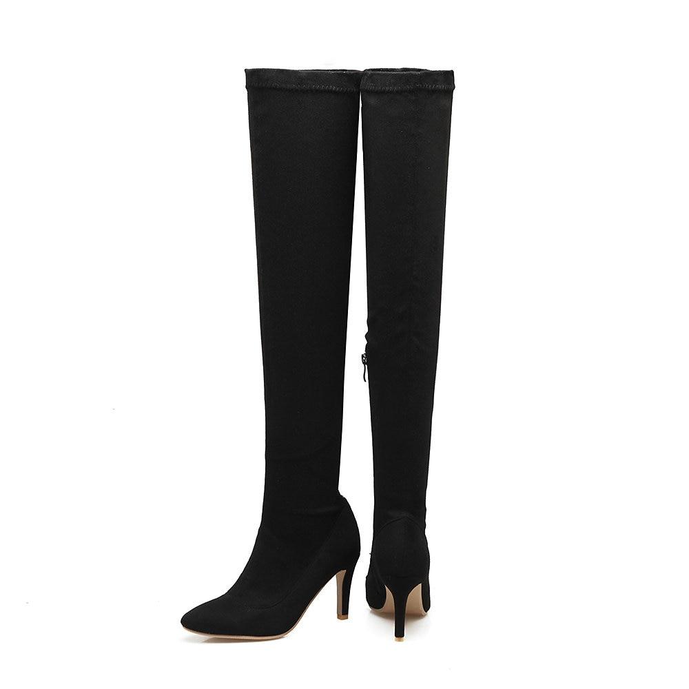 Hiver Aiweiyi Automne Apricot Femme Zip noir Chaussures Pour Bottes Talon gris Femmes Cuissardes Mode rouge Mince Sur Genou Le Boot r8rW0qv
