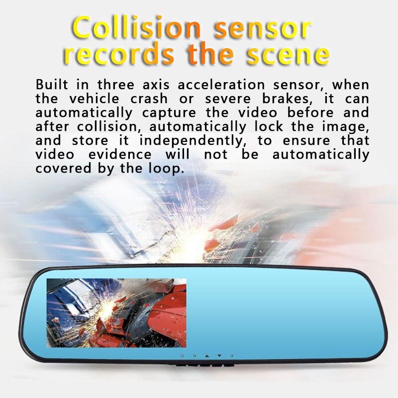 2018 4.3 HD 1080P Night Vision Parking Monitoring Car DVR Rearview Mirror Driving Recorder Detection Loop Record Dash Camera