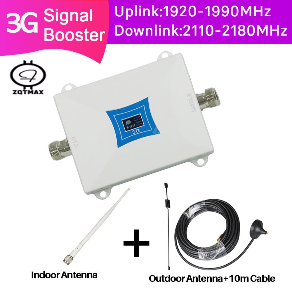 ZQTMAX 3g W-cdma 2100MHz Mobile Phone Signal Booster 3G 2100 UMTS Signal Repeater Cell Phone WCDMA Amplifier With Antenna