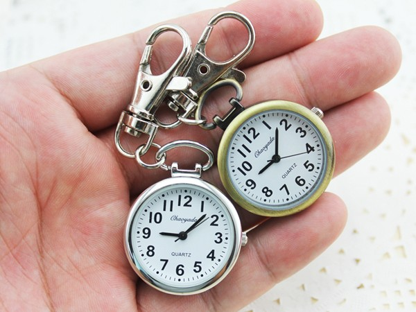 Hot Popular Women's Cute Nurse Fob Brooch Pocket Watch Bronze Quartz vintage pocket watch Movement Keychain Keyring