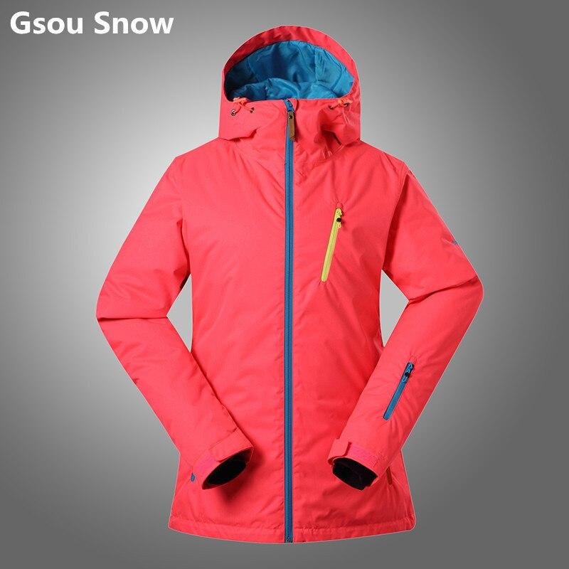 Gsou Snow winter snowboard ski jacket women women ski suit set chaquetas de esqui cazadoras mujer snow jaket solid green XS L битва за сектор