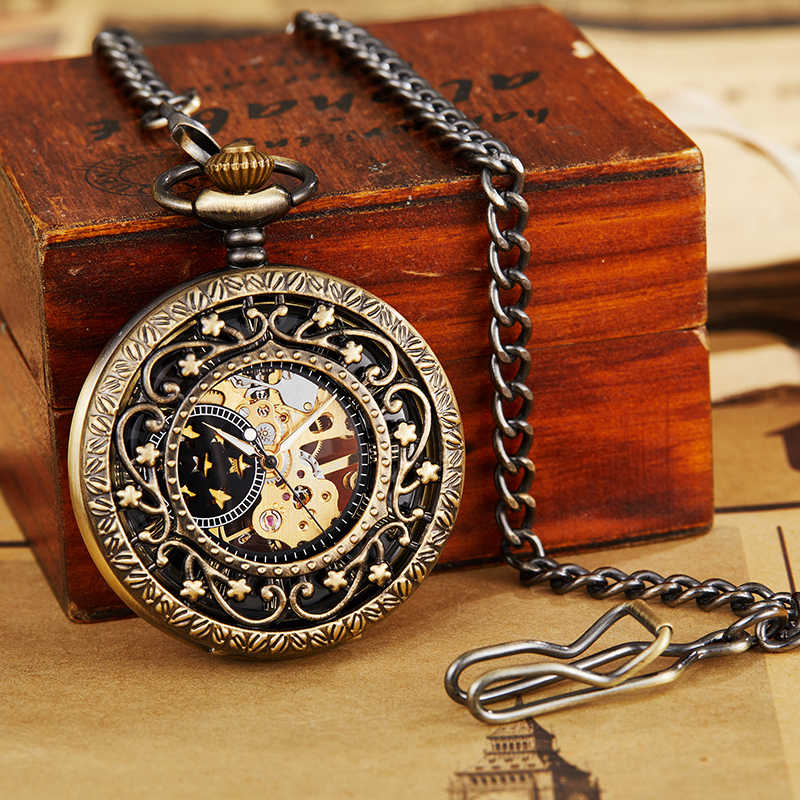 Rétro creux mécanique montre de poche avec chaîne FOB or étoiles squelette Steampunk Vintage hommes femmes remontage à la main montre de poche