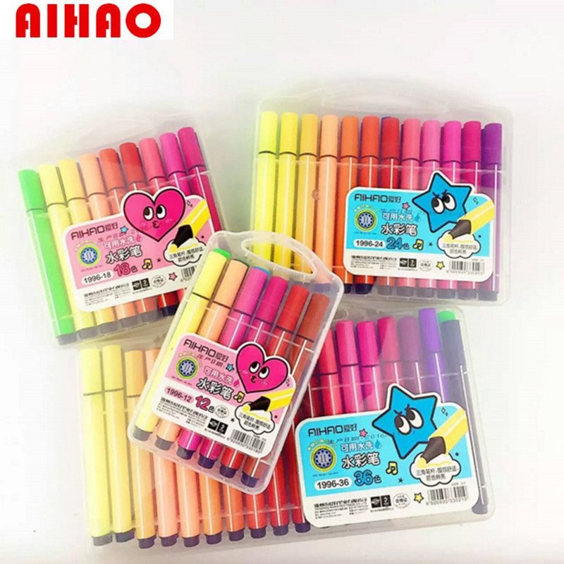 AIHAO New Arrival 36pcs Coloful Pens Art Marker Washable Children Paint Draw Triangle Large Volumn High