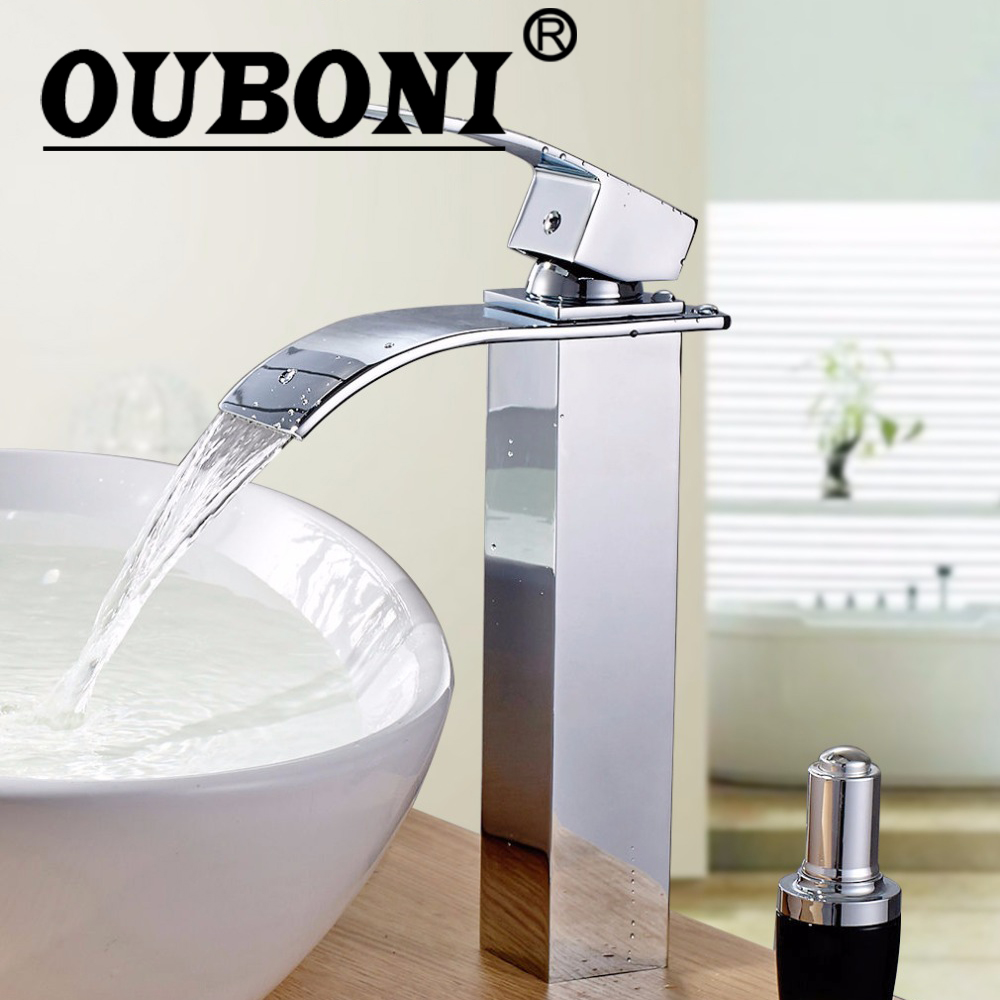 OUBONI Chrome Polished Bathroom Faucet Deck Mounted Kitchen Hot Cold Mixer Waterfall Basin Sink Faucet Single Tap