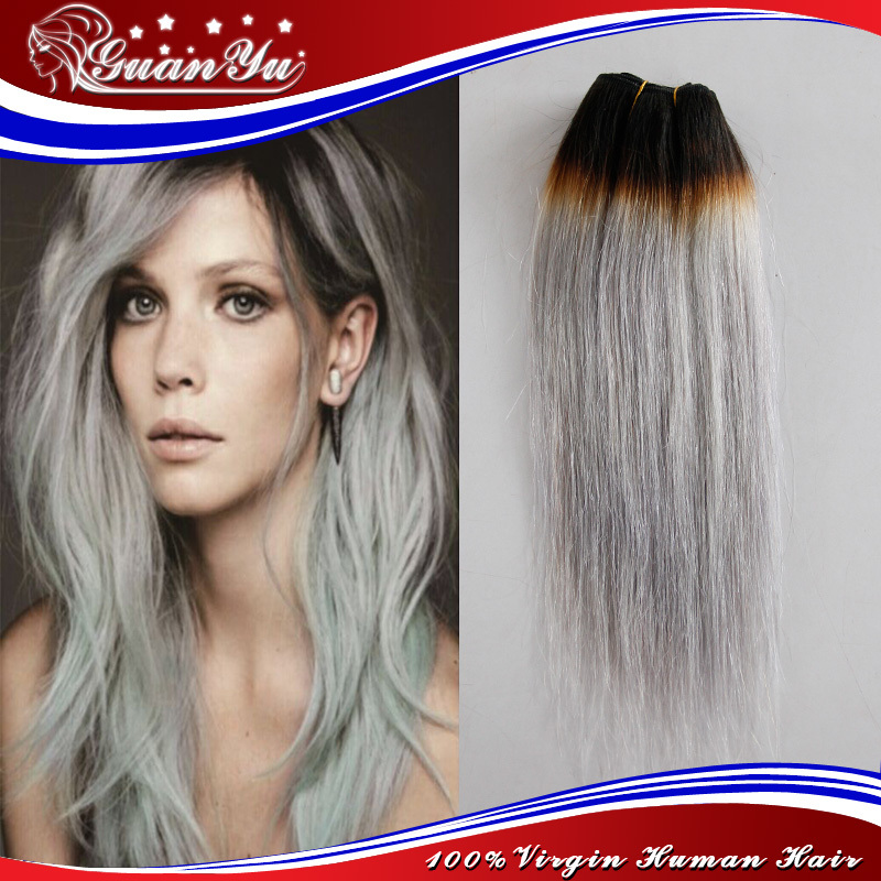 7a Ombre Grey Hair Extensions Dark Root Silver Grey Malaysian Hair